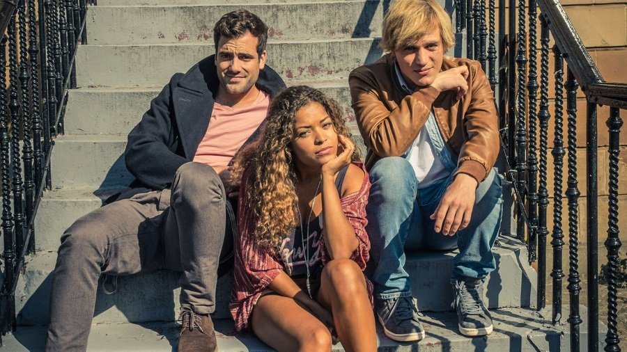 Daniel Ings, Antonia Thomas, and Johnny Flynn in Scrotal Recall, on Netflix
