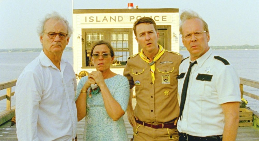 Bill Murray, Frances McDormand, Edward Norton, and Bruce Willis in Wes Anderson's 'Moonrise Kingdom'