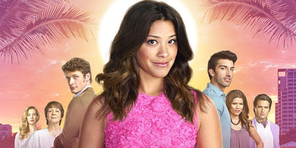 Gina Rodriguez stars in 'Jane The Virgin with Brett Dier, Justin Baldoni, Andrea Navedo, and Jaime Camil.