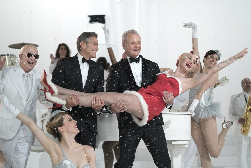 Paul Shaffer, George Clooney, Bill Murray, Miley Cyrus in the Netflix original holiday special 'A Very Murray Christmas'