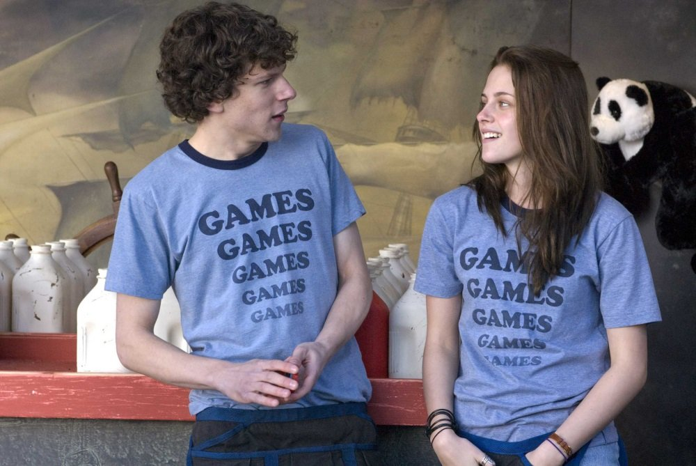 Jesse Eisenberg and Kristen Stewart in Greg Mottola's semi-autobiographical coming-of-age film 'Adventureland.' Photo credit: Miramax