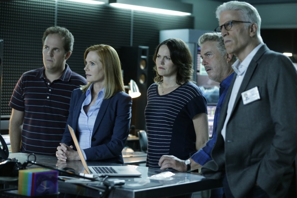 Marg Helgenberger, Jorha Fox, William Petersen and Ted Danson in the series finale of 'CSI.'