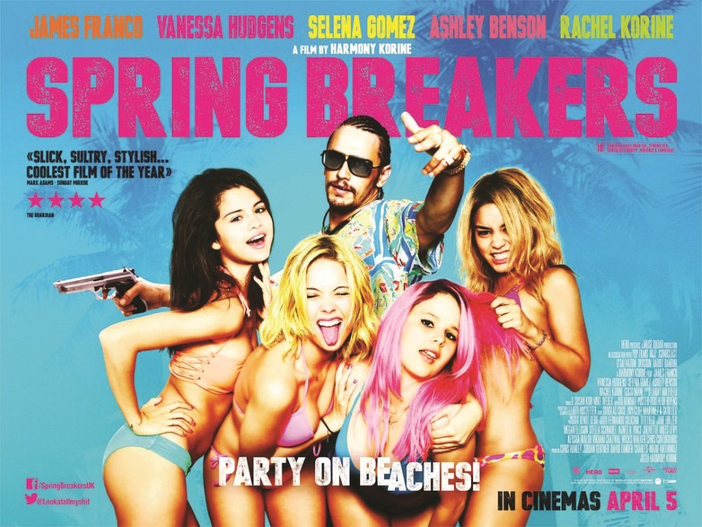 Selena Gomez. Vanessa Hudgens , Ashley Benson, and James Franco in Harmony Korine's 'Spring Breakers'