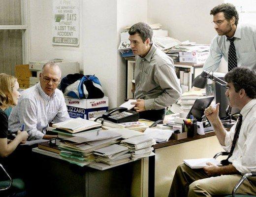Rachel McAdams, Michael Keaton, Mark Ruffalo, Liev Schreiber, and Brian d'Arcy James in 'Spotlight,' directed by Tom McCarthy.