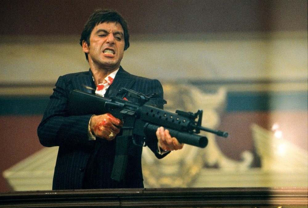 Al Pacino is Cuban thug turned Miami drug lord Tony Montana in Brian De Palma's 'Scarface'