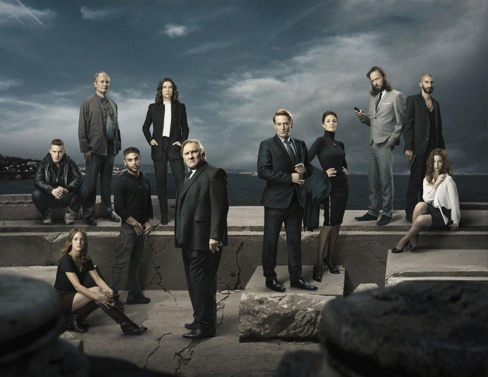 Gerard Depardieu and the cast of the Netflix original series Marseilles