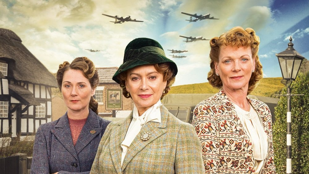 Clare Calbraith, Francesca Annis, and Samantha Bond do their bit for the war effort in the British series 'Home Fires'