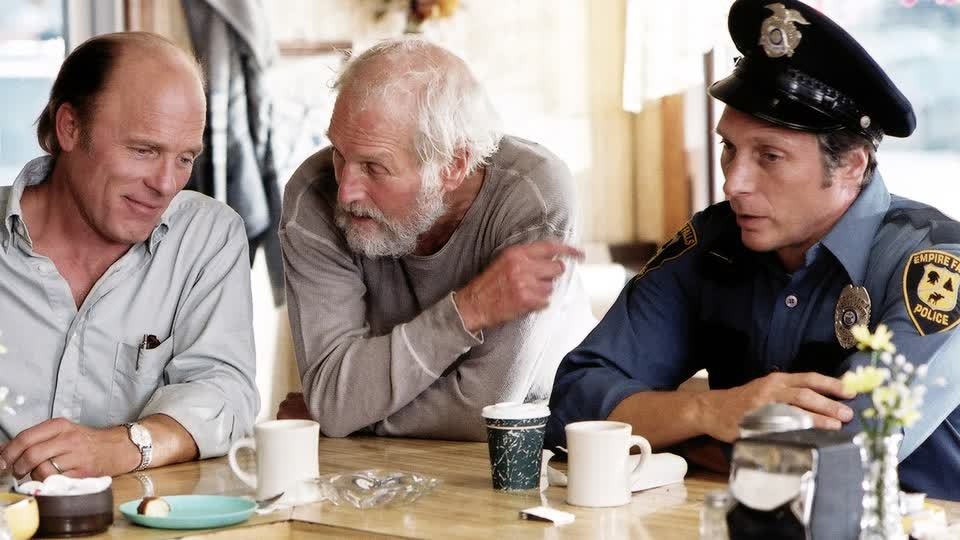 Ed Harris, Paul Newman, and William Fichtner in the HBO mini-series 'Empire Falls,' directed by Fred Schepisi.