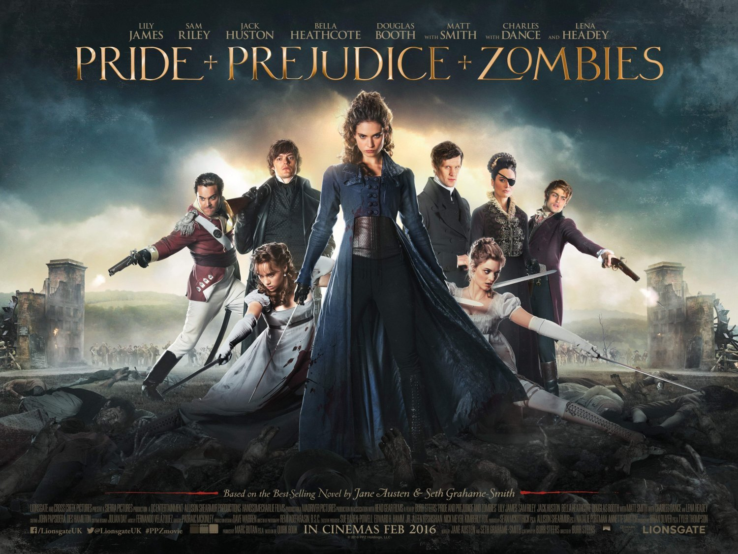 Ellie Bamber, Bella Heathcote, Lily James, Millie Brady, and Suki Waterhouse are the Bennet sisters in 'Pride and Prejudice and Zombies,' with Sam Riley, Jack Huston, Charles Dance, and Lena Heady