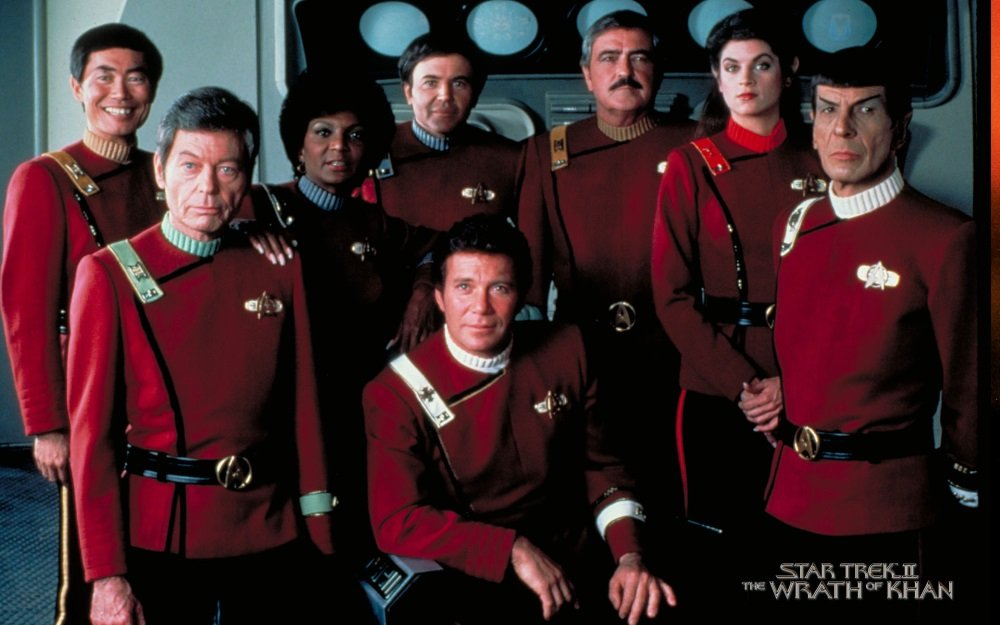 The original crew of the Starship Enterprise reunited for 'Star Trek II: The Wrath of Khan'