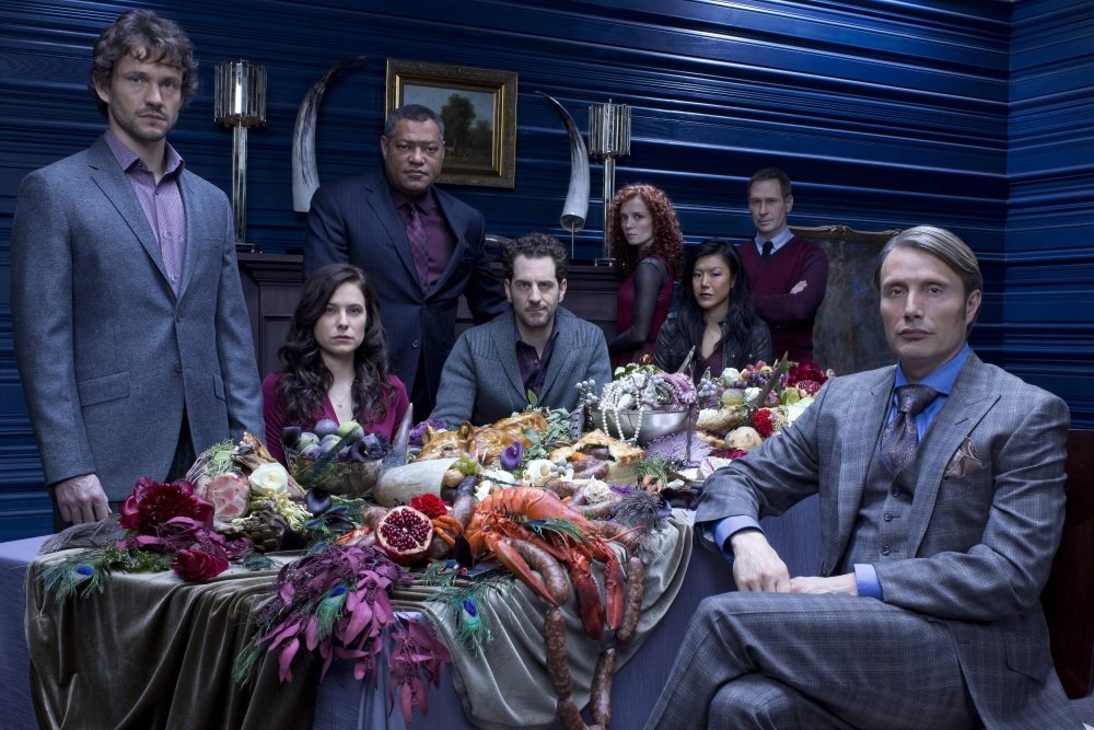 The cast of NBC's 'Hannibal,' starring Hugh Dancy, Caroline Dhavernas, Laurence Fishburne, and Mads Mikkelsen