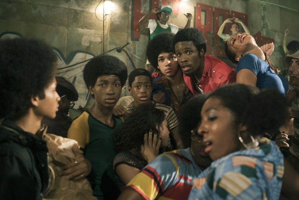 "Jaden Smith, Tremaine Brown Jr., Skylan Brooks, Justice Smith, and Shameik Moore in the Netflix original series ""Get Down."""