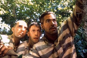 John Turturro, Tim Blake Nelson, and George Clooney in the Coen Bros.' screwball odyssey 'O Brother, Where Art Thou?'