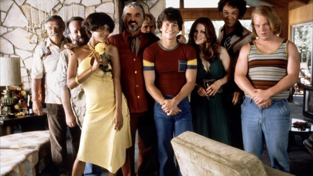 Burt Reynolds, Mark Wahlberg, Julianne Moore, John C. Reilly, Philip Seymour Hoffman, and others in Paul Thomas Anderson's indie epic