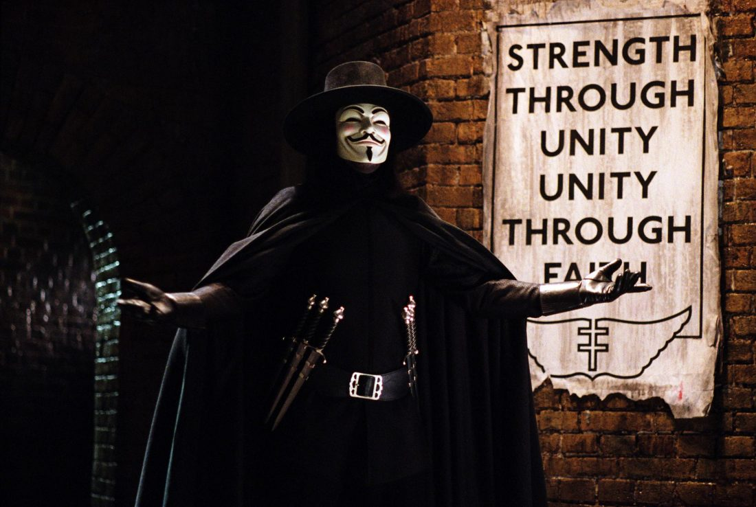 Natalie Portman, Hugo Weaving, Stephen Rea, Stephen Fry, and John Hurt star in the film adapted from the Alan Moore graphic novel