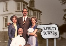 John Cleese, Connie Booth, Andrew Sachs, and Prunella Scales in the classic BBC comedy