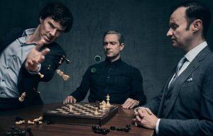 Benedict Cumberbatch, Martin Freeman, and Mark Gattis in Sherlock