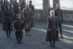 "Nathalie Emmanuel, Peter Dinklage, Conleth Hill, Emilia Clarke, and Jacob Anderson in season seven of ""Game of Thrones."""