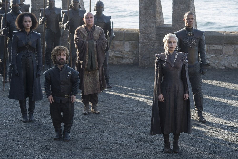 """Nathalie Emmanuel, Peter Dinklage, Conleth Hill, Emilia Clarke, and Jacob Anderson in season seven of """"Game of Thrones."""""""