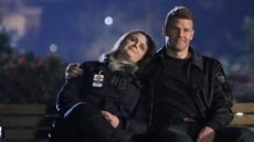 "Emily Deschanel and David Boreanaz in the final scene of the final episode of ""Bones"""