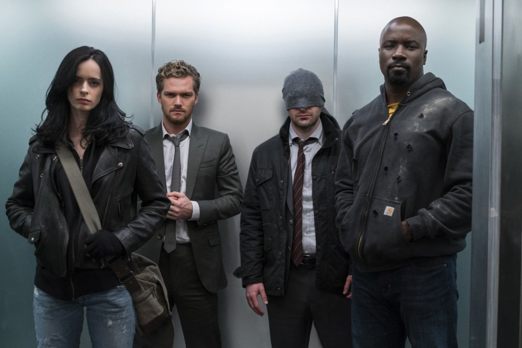 "Krysten Ritter, Finn Jones, Charlie Cox, and Mike Colter are ""The Defenders"" in the Marvel superhero series on Netflix"