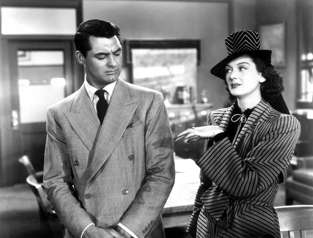 Cary Grant and Rosalind Russell star in the Howard Hawks comedy