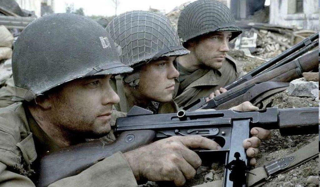 Tom Hanks, Matt Damon, and Ed Burns in Steven Spielberg's World War II platoon drama