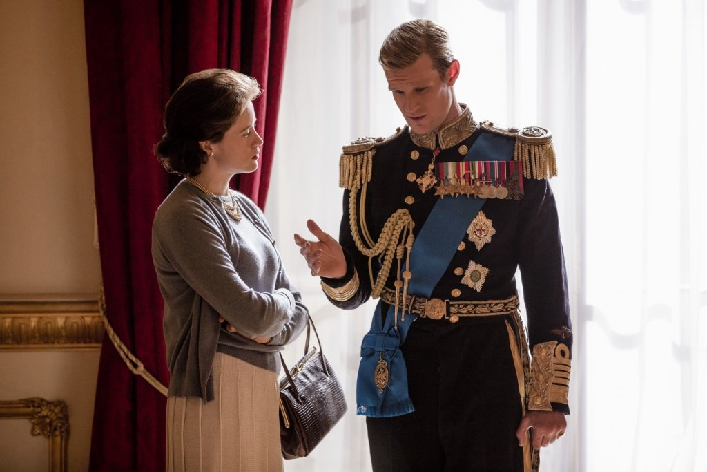Claire Foy and Matt Smith as Queen Elizabeth and Philip, Duke of Windsor