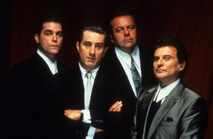 Ray Liotta, Robert DeNiro, Paul Sorvino, and Joe Pesci in Martin Scorsese's gangster classic.