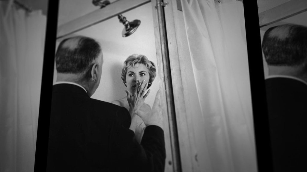 Alfred Hitchcock directs Janet Leigh on the set of the 1960 film 'Psycho' from the documentary by Alexandre O. Philippe