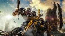 Left to right: Optimus Prime and Bumblebee in TRANSFORMERS: THE LAST KNIGHT, from Paramount Pictures.