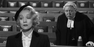 Marlene Dietrich and Charles Laughton in Billy Wilder's adaptation of the Agatha Christie play