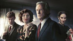 Luke Treadaway, Anna Chancellor, Bill Nighy and Morven Christie in the Agatha Christie miniseries