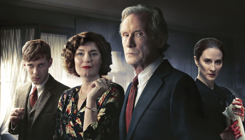 Luke Treadaway, Anna Chancellor, Bill Nighy and Morven Christie in the Agatha Christie miniseries