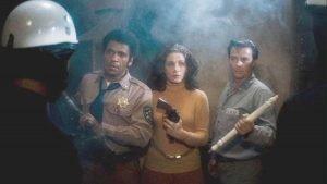 Austin Stoker, Laurie Zimmer, and Darwin Joston in the John Carpenter film