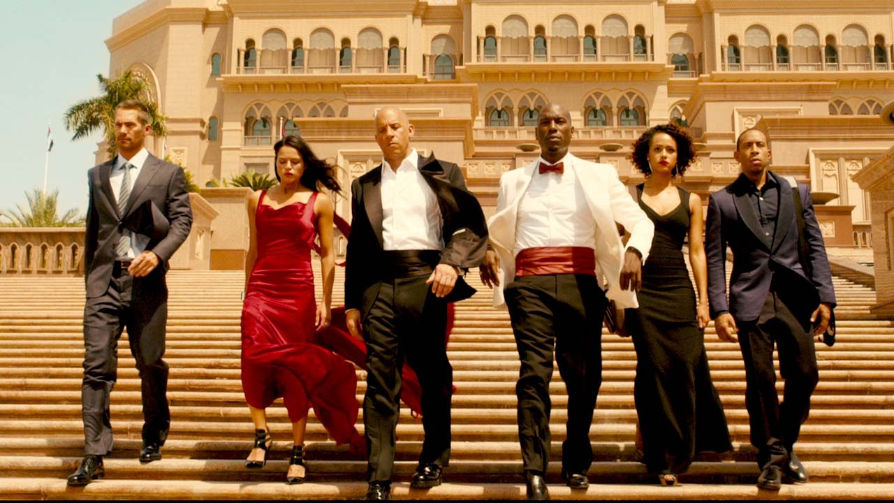 'Furious 7' with Vin Diesel, Paul Walker, Michelle Rodriguez, Tyrese Gibson, Chris 'Ludacris' Bridges, Jordana Brewster, and Dwayne Johnson