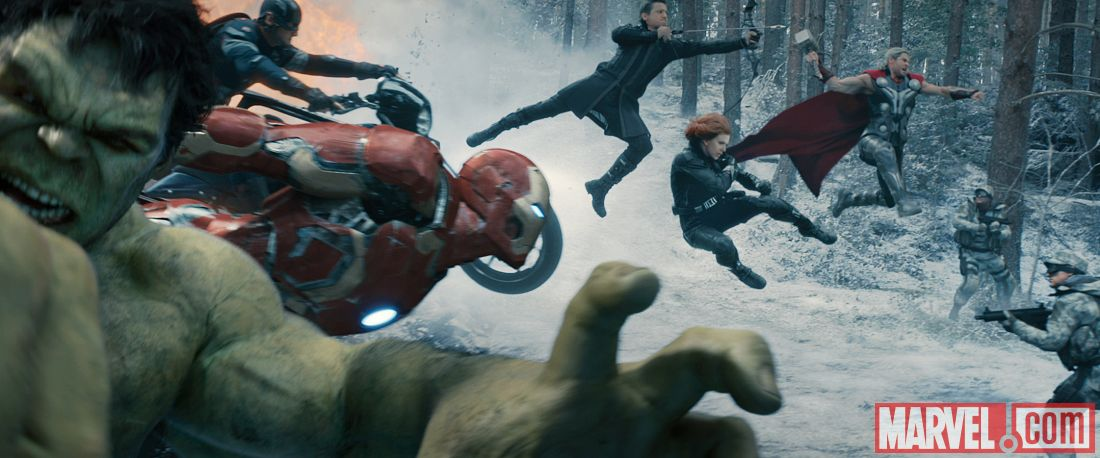 Avengers Assemble in Marvel's 'Avengers: Age of Ultron' directed by Joss Whedon and starring Robert Downey Jr., Chris Hemsworth, Mark Ruffalo, Chris Evans, Scarlett Johansson, and Jeremy Renner