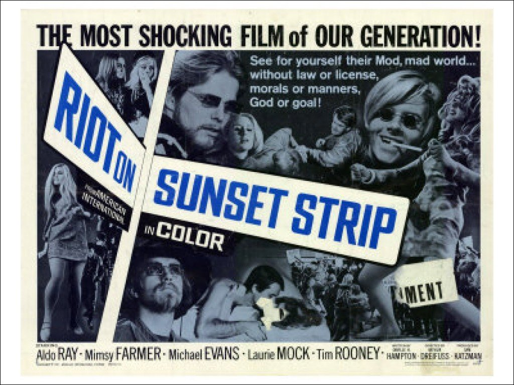 1967 youth film 'Riot on the Sunset Strip' with Aldo Ray and Mimsy Farmer