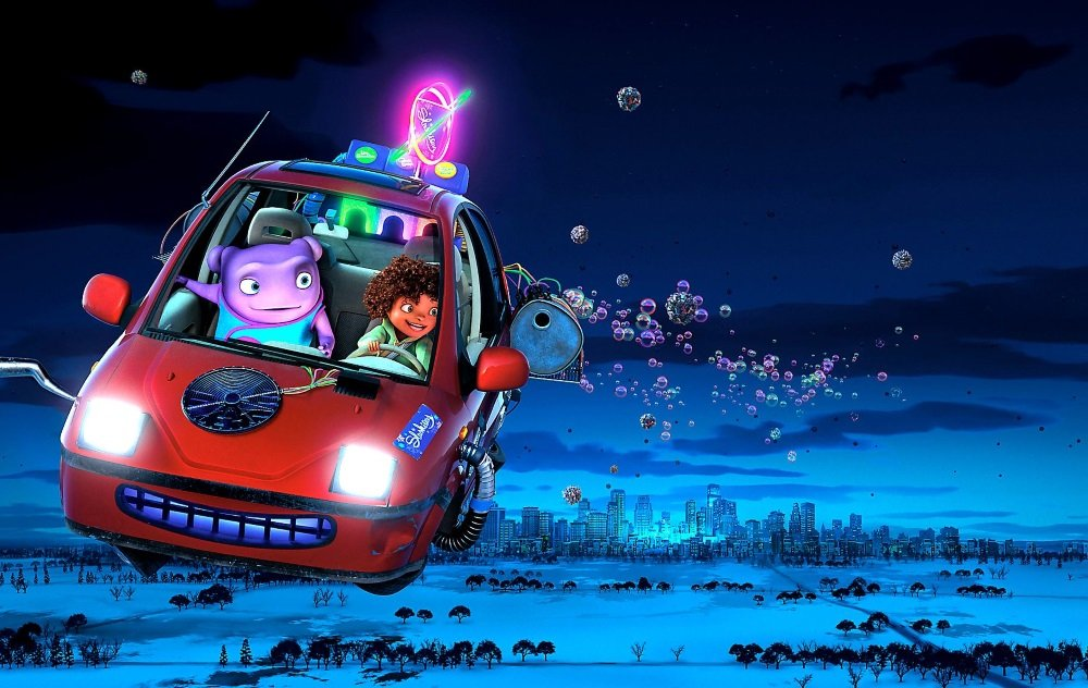 Jim Parsons and Rihanna voice the odd couple of this alien invasion / road movie comedy.