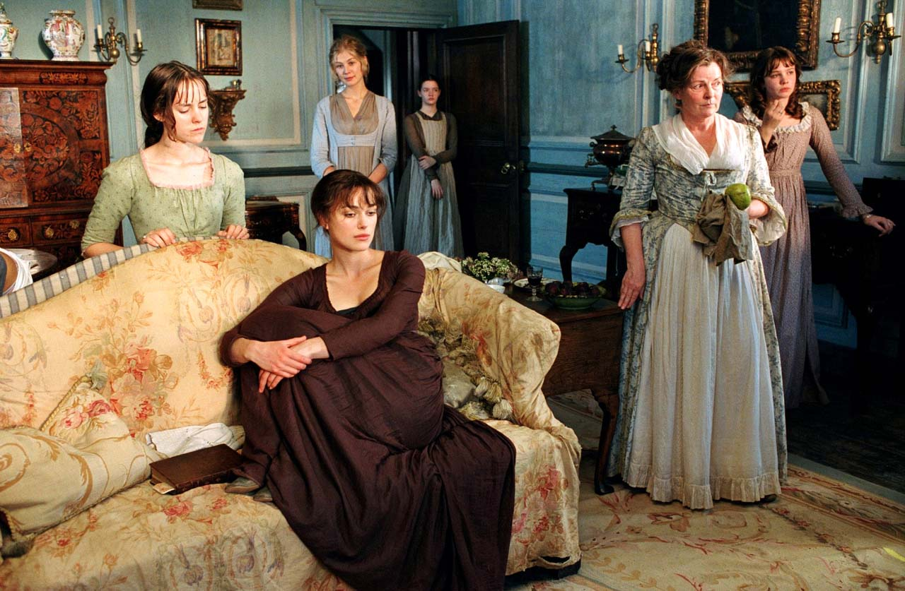 Keira Knightley and family in 'Pride and Prejudice.'