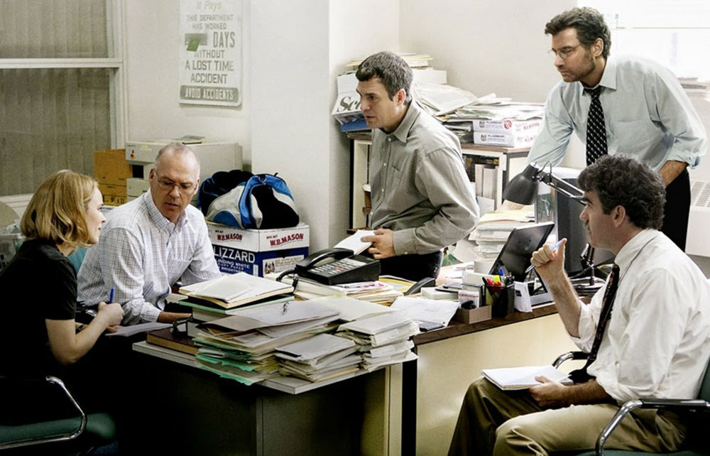 Rachel McAdams, Michael Keaton, Mark Ruffalo, Liev Schreiber, and Brian d'Arcy James in 'Spotlight,' directed by Tom McCarthy.