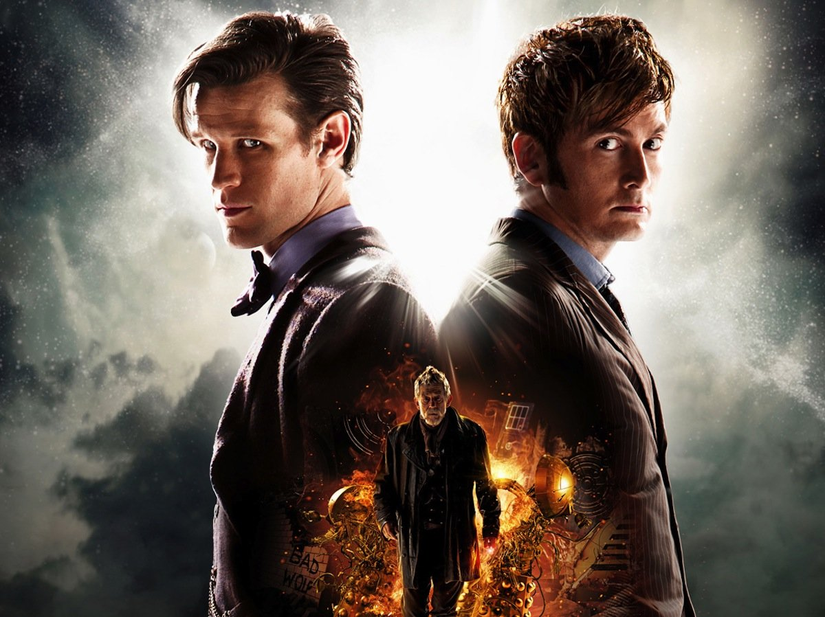 Matt Smith and David Tennant as different generations of The Doctor in 'Doctor Who.'