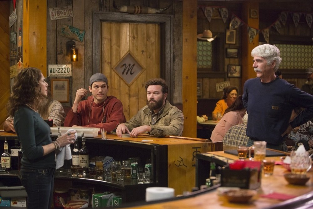"Debra Winger, Ashton Kutcher, Danny Masterson, and Sam Elliott in the Netflix original series ""The Ranch,"" which debuts on April 1, 2016."