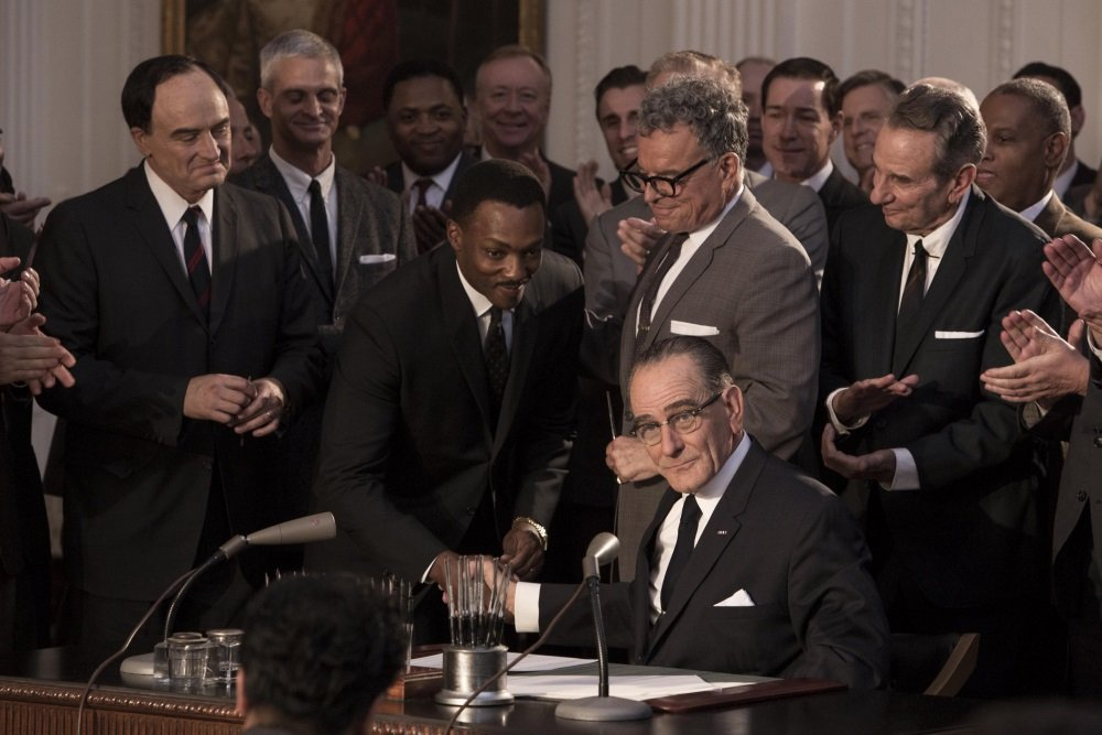 Bradley Whitford, Anthony Mackie, and Bryan Cranston in the HBO original movie 'All the Way.'