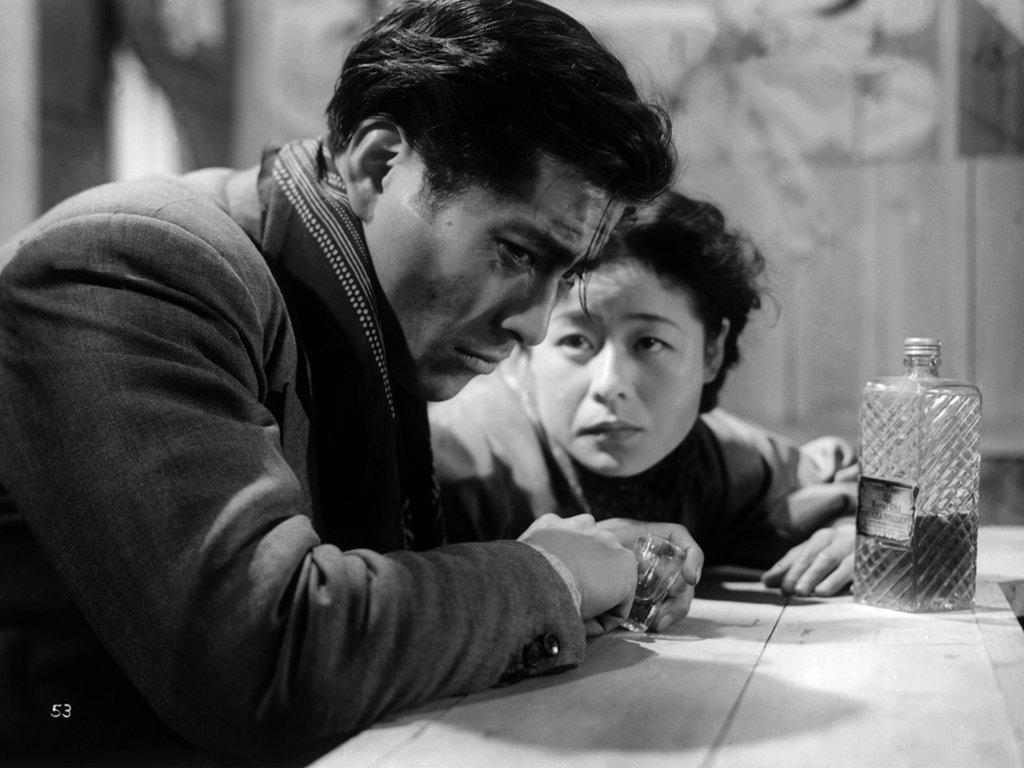 Toshiro Mifune in Akira Kurosawa's 'Drunken Angel,' co-starring Takashi Shimura