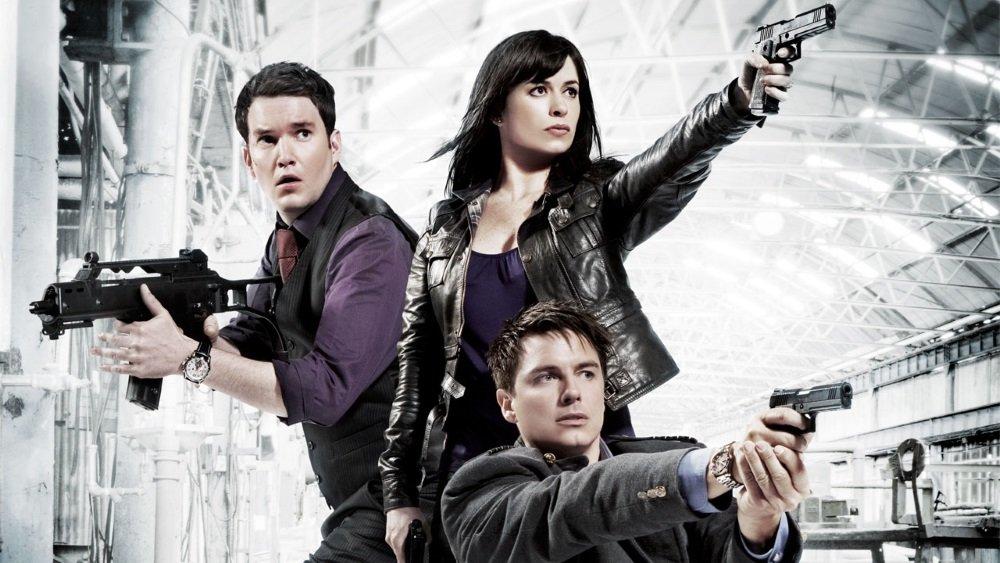 Kai Owen, Eve Myles, and John Barrowman in the BBC series 'Torchwood'