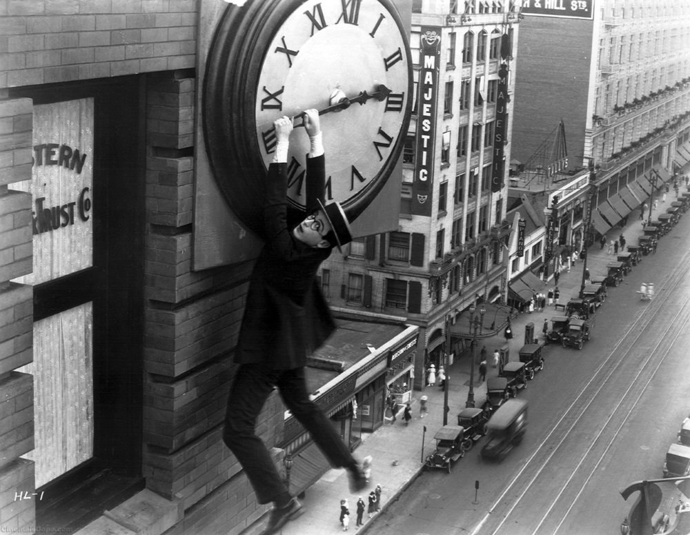 Harold Lloyd in 'Safety Last,' his most famous thrill comedy.