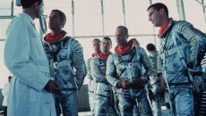 Scott Glen, Fred Ward, John Glenn, and Dennis Quaid as the astronauts in 'The Right Stuff,' directed by Philip Kaufman.