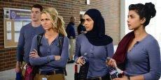 "Brian J. Smith, Johanna Braddy, Yasmine Al Massri, and Priyanka Chopra in ""Quantico."""