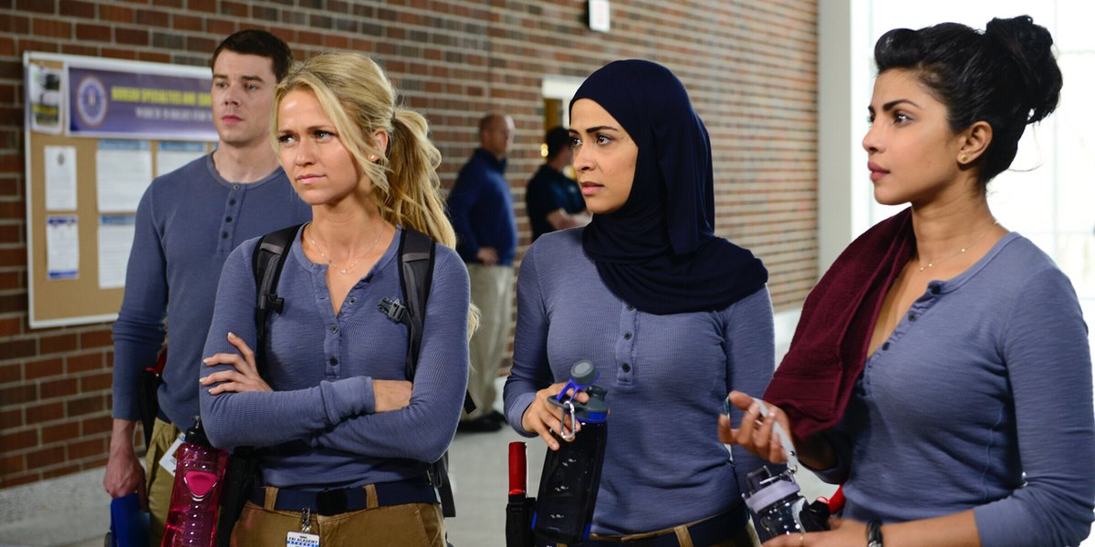 "Brian J. Smith, Johanna Braddy, Yasmine Al Massri, and Priyanka Chopra in ""Quantico."""